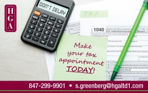 tax advice postcard showing calculator, 1040 form, post-it note reminder