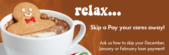 holiday skip a pay web graphic showing gingerbread man bathing in cup of cocoa; headline: relax