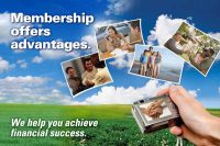 membership web graphic showing a camera with photos of a financial meeting, car purchase, family vacation and home purchase on a background of blue sky and green grass; headline: membership offers advantages