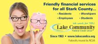 membership billboard showing smiling woman and piggy bank both wearing glasses; headline: friendly financial services for all stark county