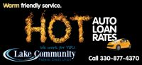 auto loan billboard showing yellow hatchback on black background and word hot made of flames; headline: hot auto loan rates
