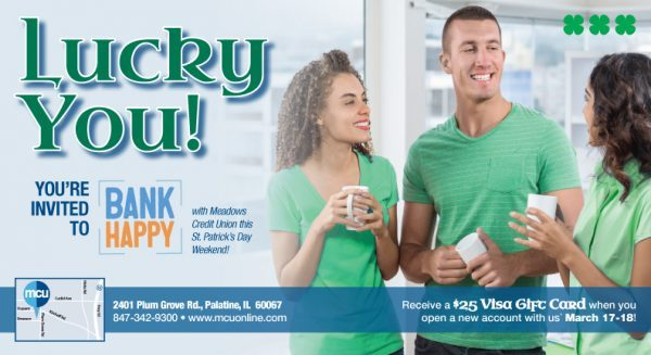 St Patrick's Day membership event postcard showing members in green shirts smiling and drinking coffee; headline: Lucky You