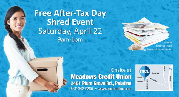shred event postcard showing young smiling woman with box of documents in front of shredded paper background