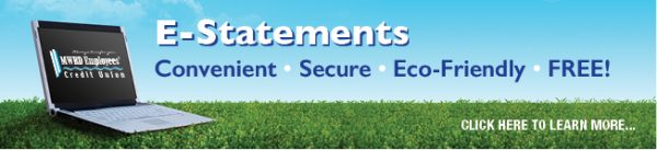 e-statements web graphic showing laptop on background of blue sky and green grass
