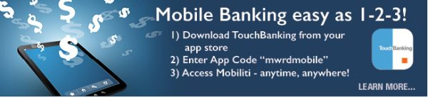 mobile banking web graphic showing computer tablet with dollar signs; headline: mobile banking east as 1-2-3