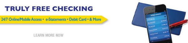 checking web graphic showing mobile phone and checkbook; headline: truly free checking