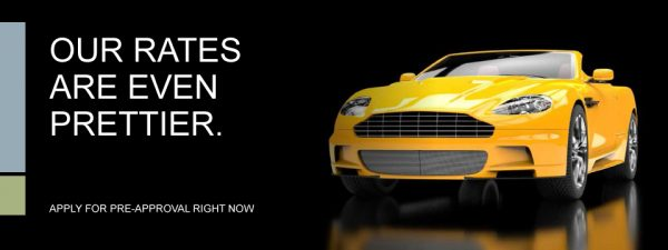 auto loan web graphic showing yellow sports car on black background; headline: our rates are even prettier