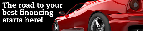 auto loan web graphic showing red sports car on black background; headline: the road to your best financing starts here