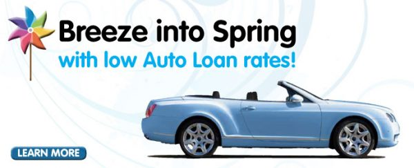 auto loan web graphic showing blue convertible and pinwheel on windy background; headline: breeze into spring