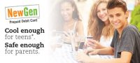 debit card web graphic showing three smiling teens enjoying sodas; headline: cool enough for teens