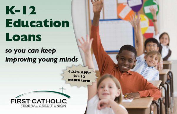 student loan postcard showing five children at their desks raising their hands; headline: K-12 education loans