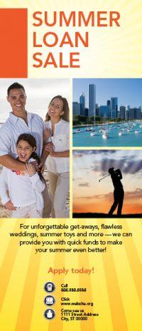 loan statement insert showing family on beach, chicago lakefront, man's golf silhouette; headline: summer loan sale
