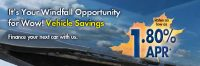 auto loan web graphic showing autumn leaf on a windshield; headline: it's your windfall opportunity