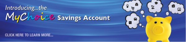savings account web graphic showing yellow piggy bank dreaming of items; headline: introducing the my choice savings account