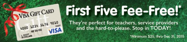 visa gift card web graphic showing card on dark green background; headline: first five fee-free