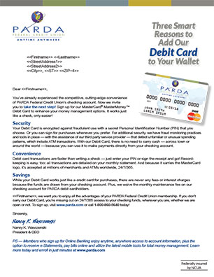 debit card direct mail showing card; headline: three smart reasons to add our debit card to your wallet