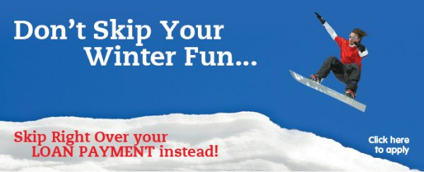 holiday skip a pay web graphic showing snowboarder jumping against sky; headline: don't skip your winter fun