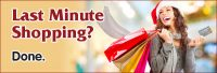 visa credit card web graphic showing smiling woman in santa hat with shopping bags; headline: last minute shopping? done