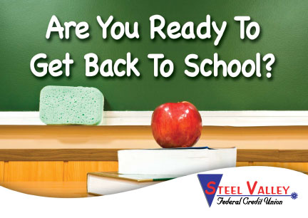 back to school postcard showing chalkboard, books, apple; headline: are you ready to get back to school