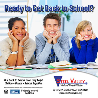back to school poster showing three smiling teens studying; headline: ready to get back to school