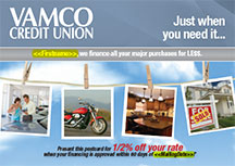 loans postcard showing auto purchase, motorcycle, kitchen remodel, home for sale; headline: just when you need it