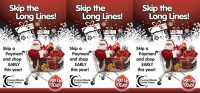 holiday skip a pay tent card showing santa in shopping cart with gifts; headline: skip the long lines