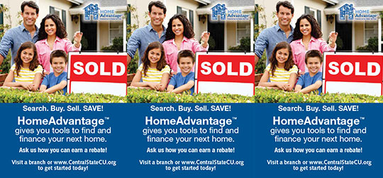 mortgage tent card showing smiling family standing next to sold sign in front of house