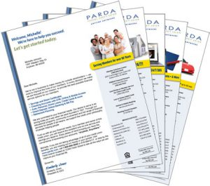 series of onboarding letters featuring membership, home loans, online services, checking and auto loans