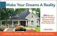 home loans postcard showing suburban house in spring or summer; headline: make your dreams a reality
