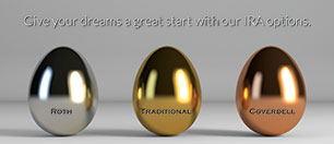 IRA statement insert showing three metallic eggs; headline: give your dreams a great start