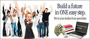 youth statement insert showing group of teens with laptop, books, cash; headline: build a future in ONE easy step