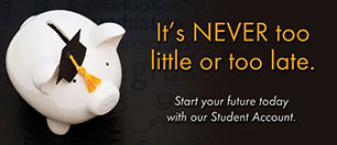 youth statement insert showing piggy bank wearing graduation cap; headline: it's never too little or too late