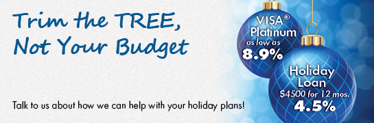 holiday web graphic showing blue ornaments; headline: trim the tree, not your budget