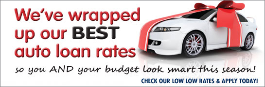 auto loan web graphic showing white sports car wrapped in red bow; headline: we've wrapped up our best auto loan rates
