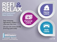 loan web graphic showing personal, home, auto loan icons; headline: refi and relax