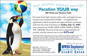 vacation loan web graphic showing penguin with beach ball; headline: vacation your way