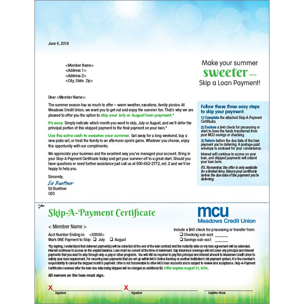 summer skip a pay direct mail showing summer sky, green grass; headline: make your summer sweeter