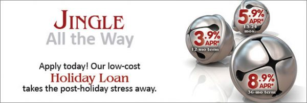 holiday loan showing jingle bells; headline: jingle all the way