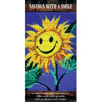 share certificate statement insert showing painted smiling sunflower; headline: savings with a smile