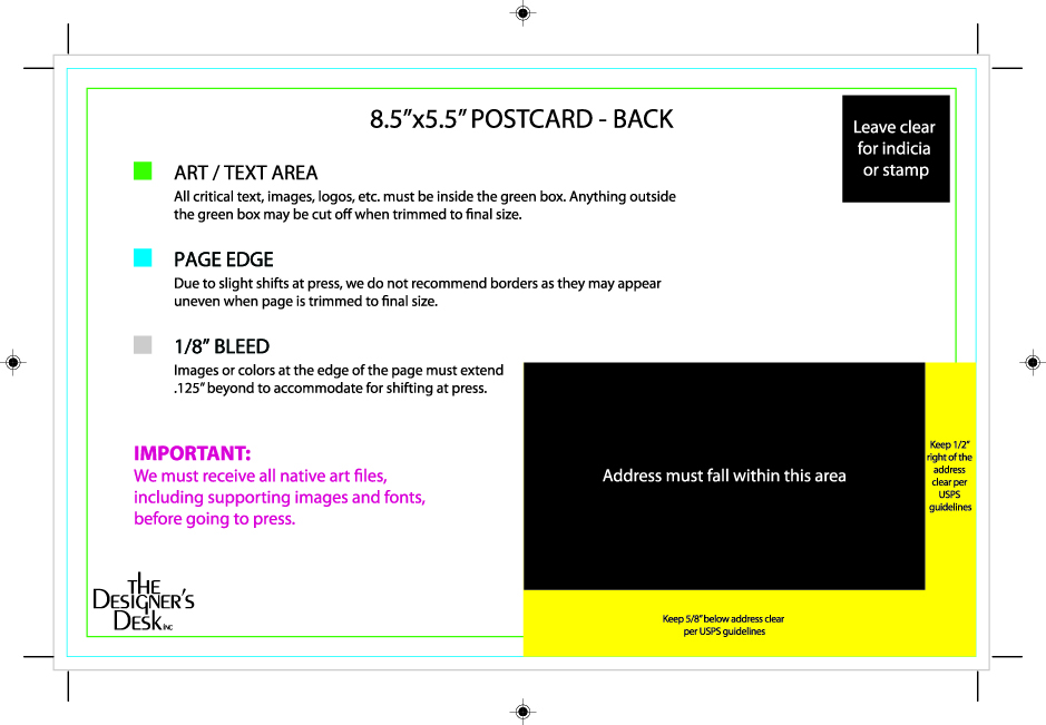 8.5x5.5 postcard back template with mailing panel