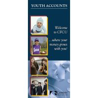 credit union youth accounts brochure showing baby, school aged baseball player, teens playing guitar, college graduates and piggy bank