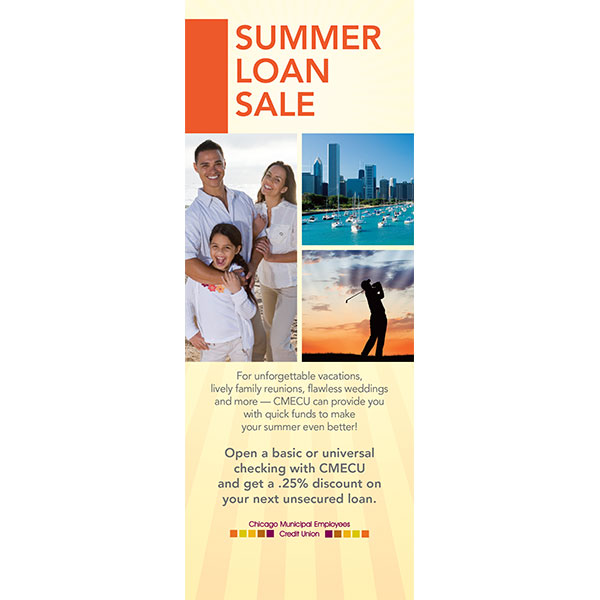 credit union summer loan sale insert showing family of three, city skyline harbor, golfer silhouette