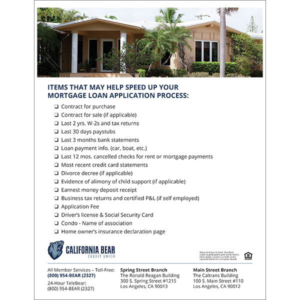 mortgage poster listing items that can speed the application process