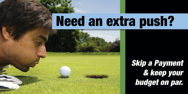Golf themed skip a pay banner