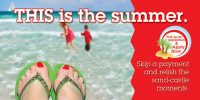 summer skip a pay banner - painted toenails on background of ocean scene