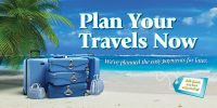 vacation loan banner - suitcases on beach