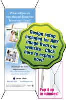 banner stands pop up in minutes, design setup included for any image from our website; choose from pre-designed ideas at www.thedesigndsk.com/gallery