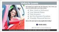 vehicle loan drive up envelope showing smiling woman in red car holding keys