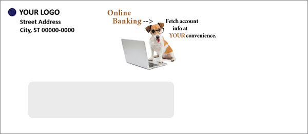 e-servies env - online banking showing dog at laptop