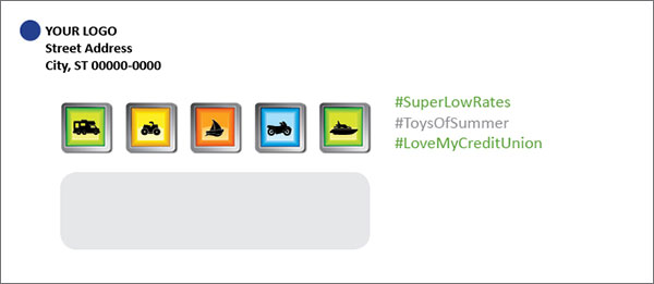 credit union loan envelope showing icons with hashtags